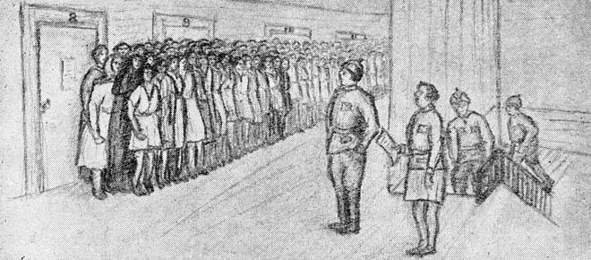 Morgensamling på en av kvinneavdelingene i Solovkifengselet. Tegnet av en anonym medfange